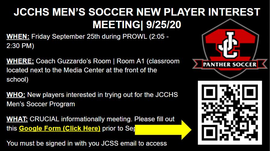 Men's Soccer New Player Interest Meeting Sept 25th