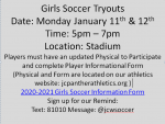 Girls Soccer Tryouts Monday Jan 11th & 12th 5-7pm
