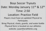Boys Soccer Tryouts Monday Jan 11th, 12th, 13th