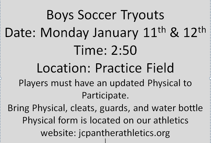 Boys Soccer Tryouts Monday Jan 11th, 12th, 13th