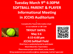 Softball Parent/Player Informational Meeting Tuesday March 9th 6:30PM
