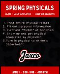 Spring Physicals April 1st 2:30-5pm @JCHS Gym