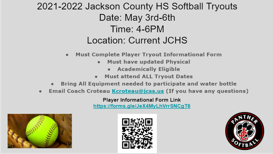 Softball Tryouts May 3rd-6th 4pm-6pm at Current JCHS Softball Field