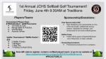 JCHS Softball 1st Annual Golf Tournament June 4th! Click on the link to sign up to golf or sponsorship!