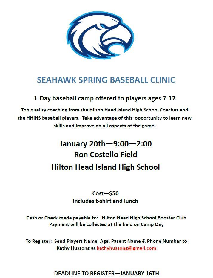 Seahawk Youth Baseball Clinic 1/20/20