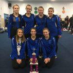 Girls Varsity Gymnastics finishes 1st place at (Darke/Shelby County Invite.)