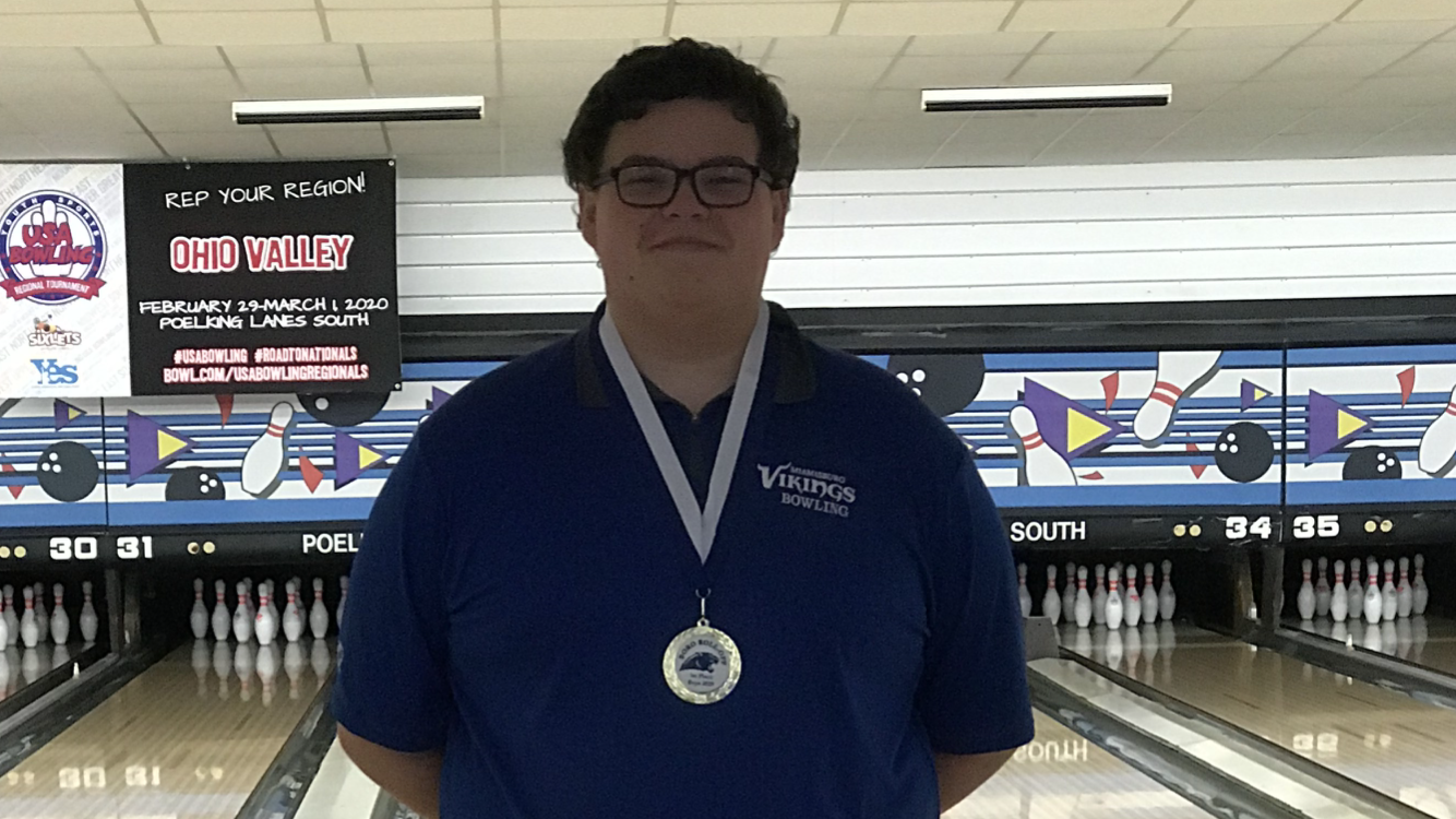 Boys varsity bowling finish 3rd at Boro Roll Off Tournament with Easton Berger as all tournament team champion.