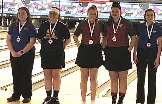 Girl's Varsity Bowling finish 10th at Springboro Roll off tournament with Emmie Berger and Maddie Ginn making all tournament team.