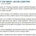 Congratulations Jake Caniford – Review Male Athlete of Week