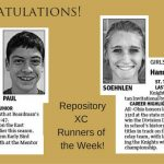 Rep Runners of the Week Justis Paul & Hannah Soehnlen 9-23-16