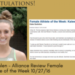 Kalee Soehnlen – Review Female Athlete of the Week 10/27/16