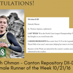 Hannah Ohman – Canton Repository Female Runner of the Week 10/21/16