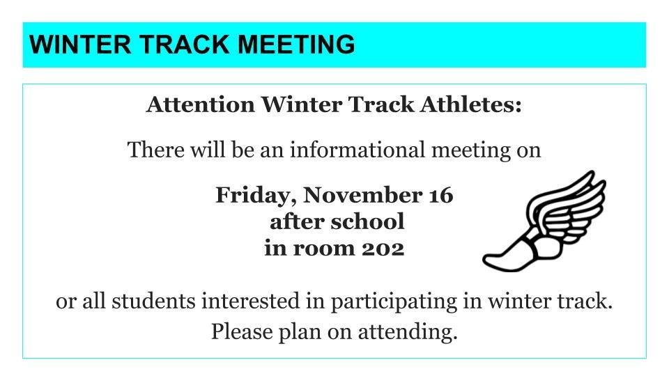 Winter Track Meeting – Friday, November 16