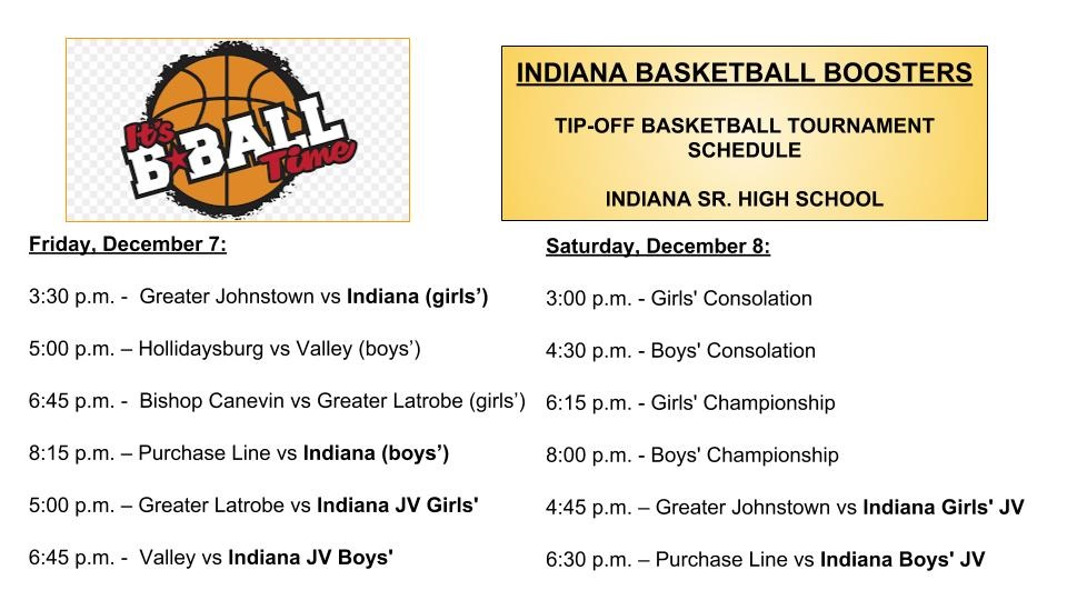 INDIANA BASKETBALL BOOSTERS TIP OFF TOURNAMENT SCHEDULE