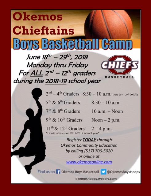 2018 Boys Basketball Summer Camp Sign-up