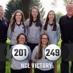 Girls Varsity Golf beats Gilmour Academy 201 – 249