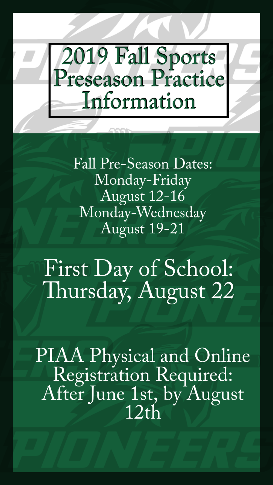 Fall Sports 2019 Pre-Season Information
