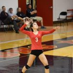 Volleyball Falls on the Road at Plymouth