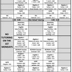 Tutoring Schedule Announced