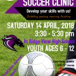 FREE Soccer Clinic – Saturday, April 14 – 3:30pm
