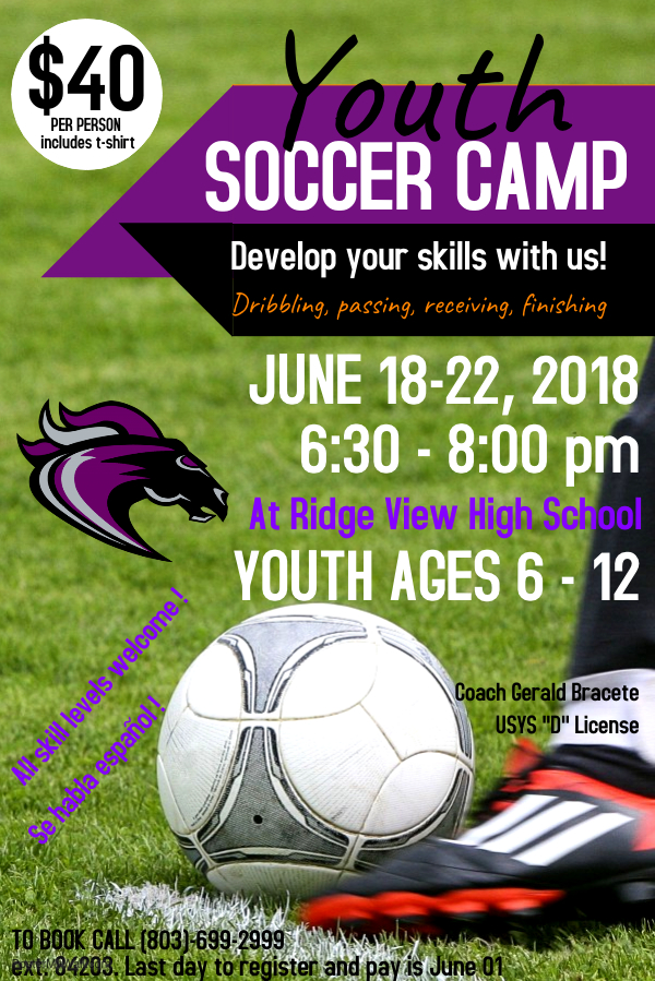 Youth Soccer Camp Announced for June 18-22