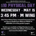 $10 Sports Physical Day Set for Wednesday, May 15 – Entrance and Parking Map Attached