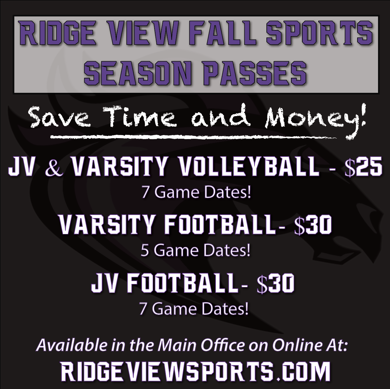 Fall Sports Season Passes Now On Sale!