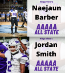 Ridge View's Smith and Barber Named to Football All State Team – All Region Team Recognized