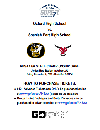 Event Schedule for the 2019 6A State Football Championship