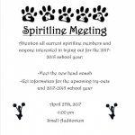 Informational Spiritline Meeting – April 27th @ 4:00 pm