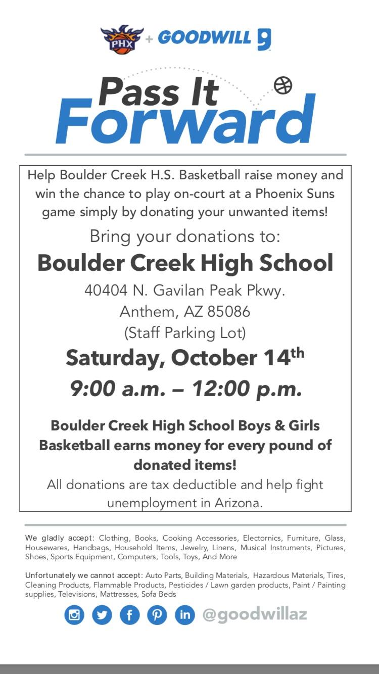 Boys Basketball Fundraiser October 14th. Pass it Forward!