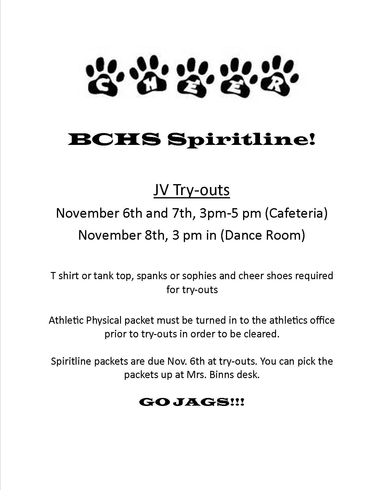 JV Spiritline Try-outs November 6th – 8th