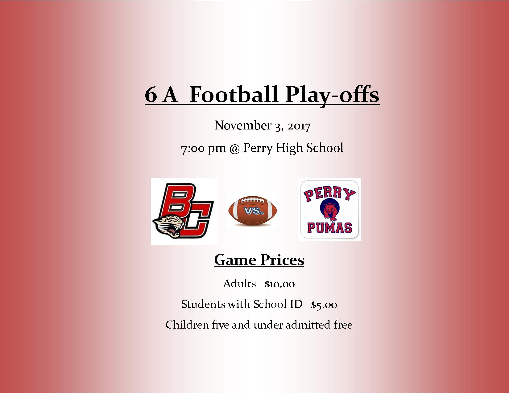 Cheer on Boulder Creek Football for the 1st round of Playoffs tonight @ Perry High School at 7:00 pm