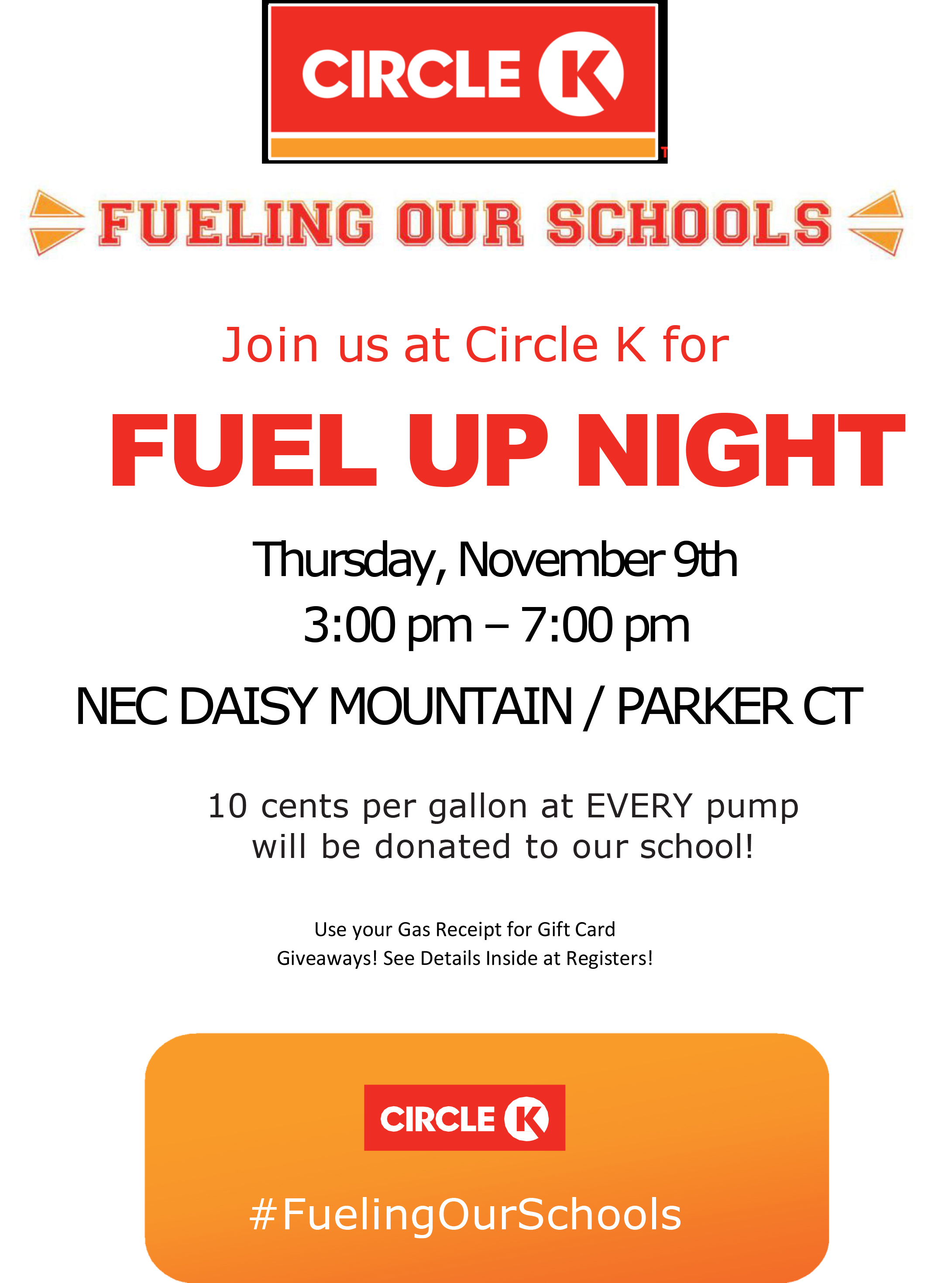Circle K Fuel Up Night, November 9th, 2017  3:00 pm – 7:00 pm