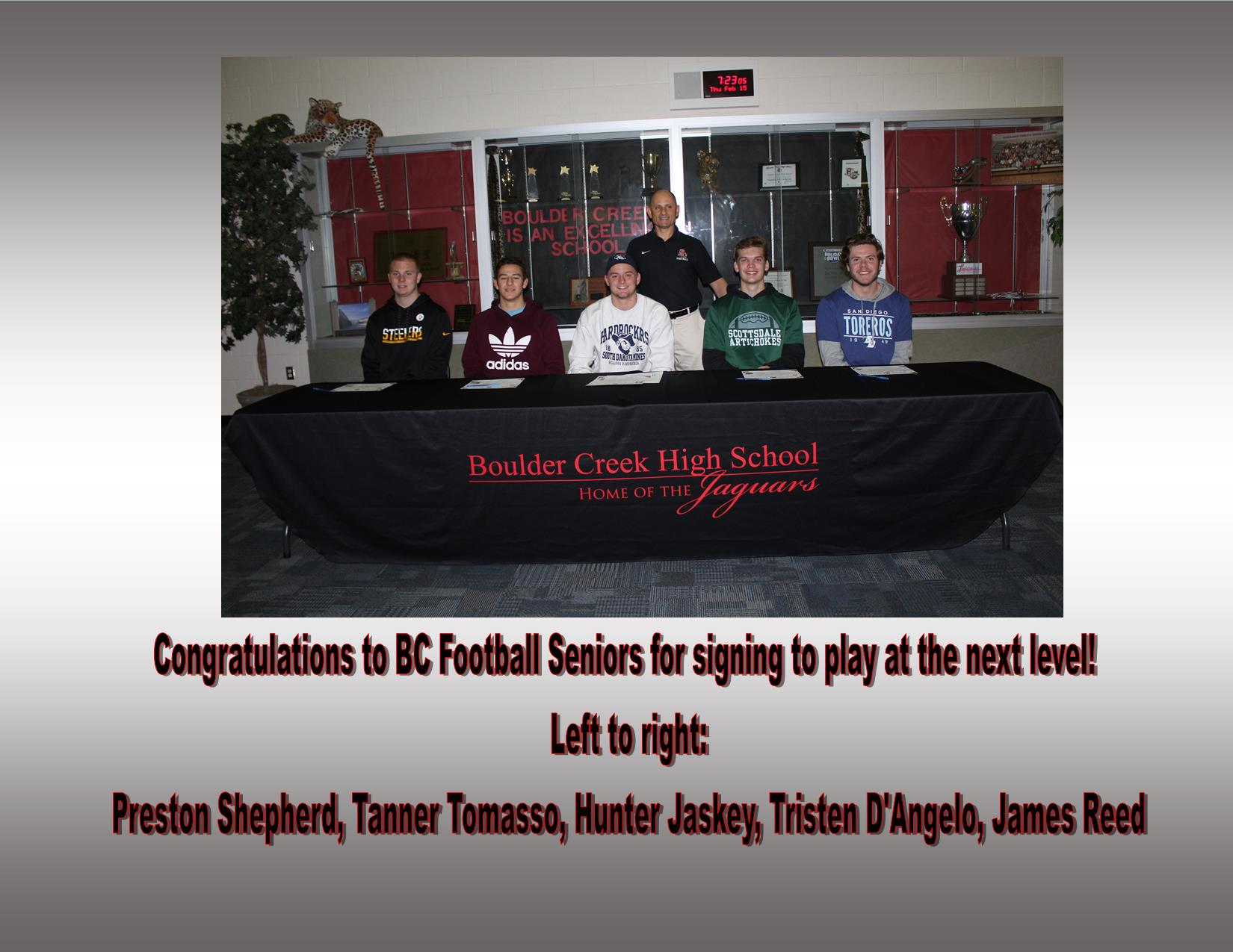 Congratulations to our Senior Football Athletes, playing at the next level!