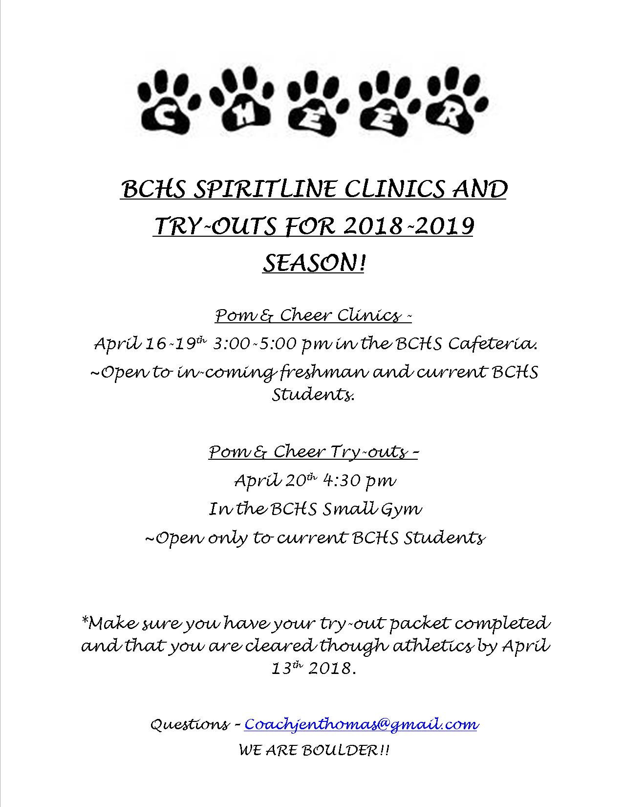 2018-2019 BCHS Spiritline Clinics and Try-Outs