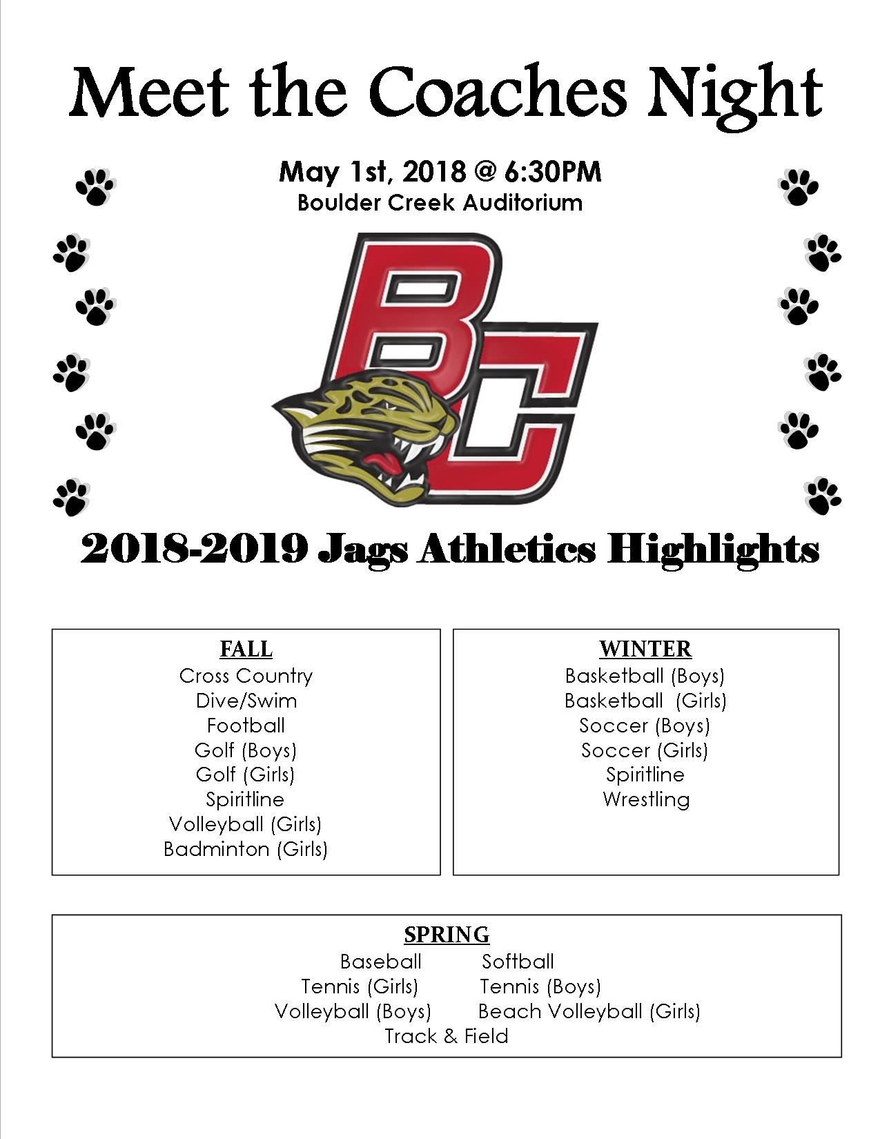 Meet the Coaches Night – Tuesday, May 1st @ 6:30 PM