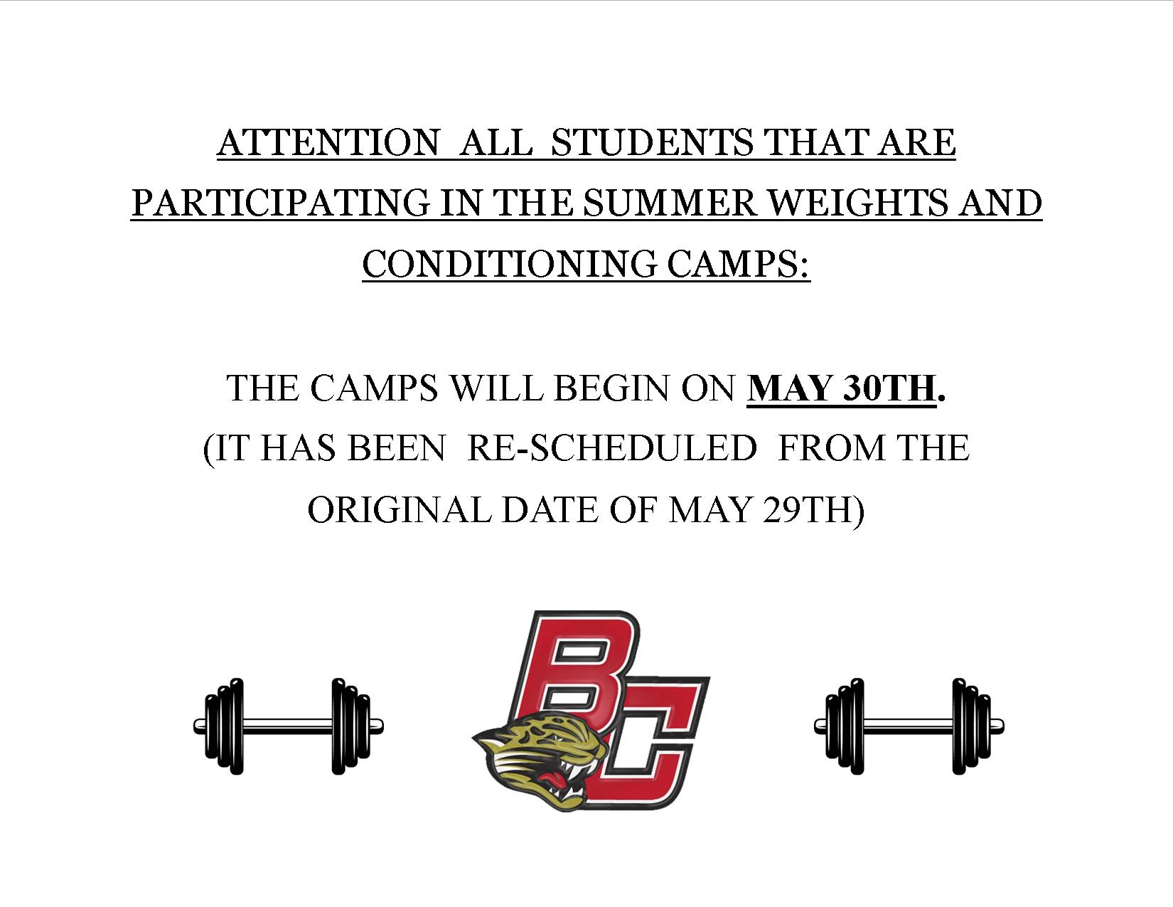 Summer Weights and Conditioning Camp Date Change