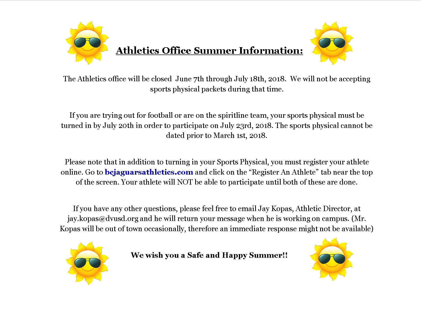 Athletics Office Summer Information