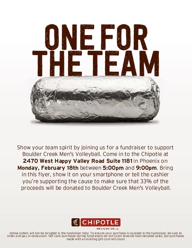Men's Volleyball Chipotle Night!