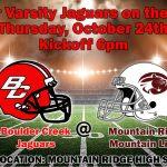 JV Football AWAY at Mountain Ridge