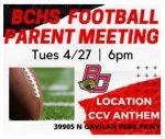 BCHS Football Parent Meeting 4/27 at 6 p.m.