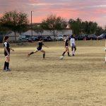 Soccer girl kicks ball
