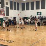 Basketball girl shoots free throw