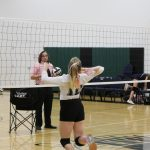 volleyball girl practices spike