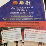 2021 sports tour of italy departs june 1, 2021 poster