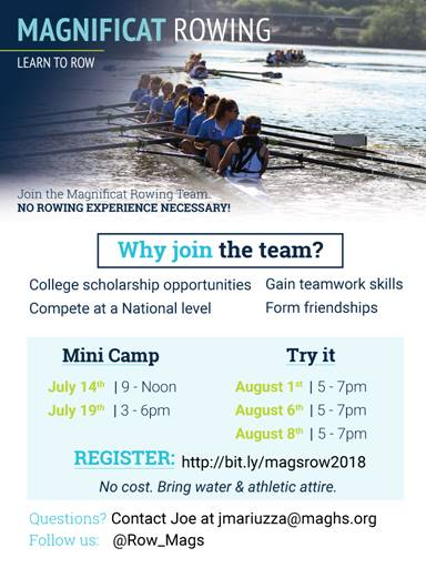 Magnificat Rowing Summer Camps/Clinics – Join Now!