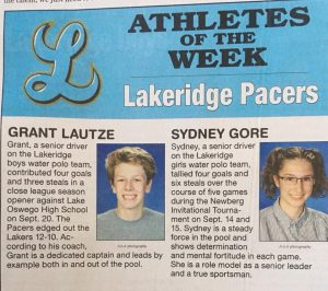 Grant and Sydney honored as Athletes of the Week!