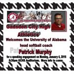 UofA SOFTBALL COACH, PAT MURPHY TO SPEAK AT GADSDEN CITY HIGH