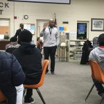 Mission Continues… Smith meets with prospective athletes at Emma Sansom Middle School